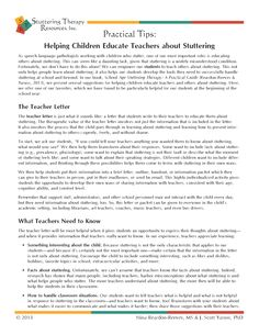 FREE handout on helping children who stutter educate their teachers about stuttering.