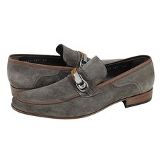 Mittet - Guy Laroche Men's loafers made of suede and leather with leather lining and leather outsole.  Available in Tobacco-Brown and Blue-Black color.