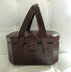 stunning vintage 40's box purse in crocodile skin
