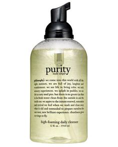 """Tiny Bubbles   With """"amazing deep-cleaning capabilities,"""" Philosophy Purity Made Simple High-Foaming Daily Cleanser works without making skin """"feel dry.""""  Read more: Philosophy Purity Made Simple High-Foaming Daily Cleanser - Best Face Cleansers Readers Rank the Top 5 Face Cleansers -"""