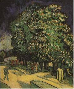 Chestnut Trees in Blossom Vincent van Gogh Painting, Oil on Canvas Auvers-sur-Oise, France: May, 1890