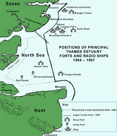 Map of forts and radio ships 1964 - 1967 Maunsell Forts, Walton On The Naze, 1960s Britain, Radios, Ham Radio Operator, Vintage Space, Modern History, Historical Pictures, Pirates