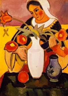 ♪ The Musical Arts ♪ music musician paintings - August Macke | Woman Playing the Lute, 1910