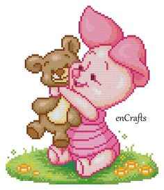 Winnie the pooh tiggereeyore and piglet 5 cross stitch by enCrafts