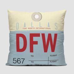 DFW - Dallas - airport throw pillow