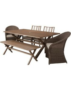 Threshold Holden 6-Piece Metal/Wicker Rectangular Patio Dining Furniture Set
