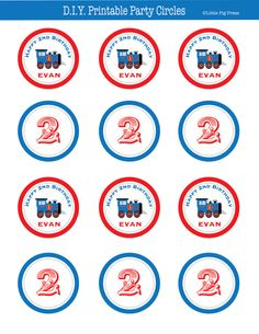Train Party Personalized 2 Inch Party Circles  by LittlePigPress, $12.00