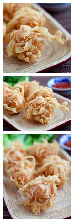Fried shrimp balls with wonton skin. They're crispy, yummy and make a perfect appetizer. Easy fried shrimp balls recipe with simple ingredients   http://rasamalaysia.com