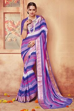 Purple Georgette Digital Print Saree with Lace Border