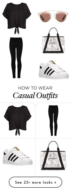"""""""casual"""" by styleinsaudi on Polyvore featuring Wolford, adidas, Balenciaga and Christian Dior"""