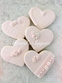 Just a few of the cookies I'm working on for a wedding rehearsal dinner and wedding. Cookies Cupcake, Galletas Cookies, Fancy Cookies, Heart Cookies, Iced Cookies, Cute Cookies, Royal Icing Cookies, Sugar Cookies, Wedding Shower Cookies