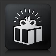 Black Square Button with Present Icon vector art illustration