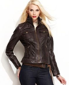 Motorbike leather jacket - fashion idol for women