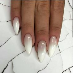 Almond Nails Ombre The almond nail is currently a trending nail shape and is one of the most classic looks around. It is most common in the office, business meetings and celebrities. There are plenty of different options for almond nail Nail Art Designs Images, Ombre Nail Designs, Almond Nails Designs, White Nail Designs, Almond Shaped Nail Designs, Ombre Nail Polish, Gel Nails, Nail Nail, Toenails