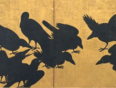 Detail. One of a pair of Japanese screens. Crows. 17th century. Seattle art Museum.