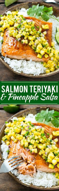 This recipe for salmon teriyaki is broiled salmon fillets brushed with a homemade teriyaki sauce and finished off with a sweet and tangy pineapple salsa Salmon Recipes, Fish Recipes, Seafood Recipes, Dinner Recipes, Cooking Recipes, Healthy Recipes, Dinner Ideas, Teriyaki Salmon, Teriyaki Sauce