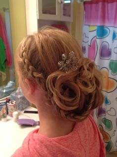 French Braid Updo That I Did Today For A Junior Bridesmaid