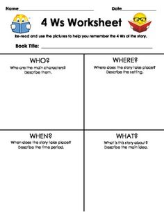 {freebie} a great graphic organizer for who, what, when, and where!