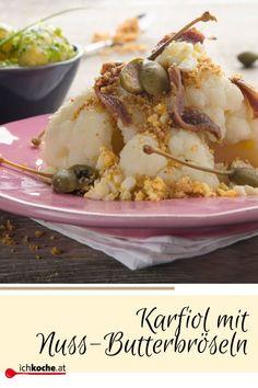 Hallo Knusper-Fan! Mit dem guten, alten Kohlgemüse ist es ein bisschen, wie mit dem hässlichen Entchen und dem wunderschönen Schwan. Werden die zarten Röschen richtig zubereitet, verwandeln sie sich innerhalb weniger Minute zu einem himmlischen Gaumenschmaus. Grillen, braten, backen oder kochen geht nicht nur mit Fleisch, sondern auch mit Karfiol. Schnell gekocht und mit Butterbröseln, Sardellen und Kapern getoppt ist er wunderbar einfach und trotzdem großartig im Geschmack. 😋 Butter, Potato Salad, Cauliflower, Zucchini, Grains, Rice, Potatoes, Vegetables, Ethnic Recipes