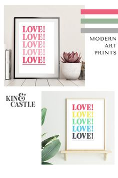 Our modern pastel colour wall art prints feature simple and bold typographic designs. This typography LOVE wall decor, as seen in GRAZIA magazine, features pastel pink, yellow, green, blue and grey colours.  Our art prints would look amazing in a gallery wall or as a feature art wall piece. It would look stunning in a living room, hallway, bedroom or home office. Pastel Colours, Pastel Art, Pastel Pink, Pink Yellow, Blue, Art Prints For Home, Modern Art Prints, Coral Wall Art, Pastel Home Decor
