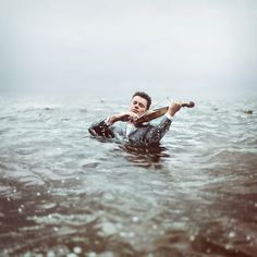 """tobemadenew: """" by Rosie Hardy. """" My first feeling upon seeing this photo: worry about the effects of the water on his violin. Conceptual Photography, Creative Photography, Portrait Photography, Photography 101, Artistic Photography, Fashion Photography, Rosie Hardy, Environmental Portraits, To Infinity And Beyond"""