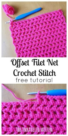 offset filet net crochet stitch tutorial