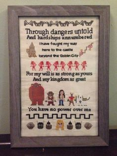 "Labyrinth Cross-Stitch Sampler, $170 | 18 Magical Gifts For ""Labyrinth"" Lovers My daughter would SOO love to have this!"