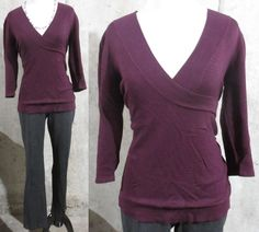 Maurices Purple V Neck Wrap Front ¾ Sleeve Knit Top, Career Casual, Large #Maurices #KnitTop #CareerCasual