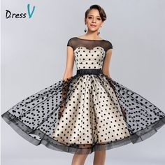 Cheap dress fur, Buy Quality dresses casual directly from China dress watches Suppliers: Dressv Knee-length Cocktail Dresses 2017 Polk Dot Pattern Dresses to Party Homecoming Dresses Sheer Boat Neck Graduation Dresses Cocktail Dress 2017, Cocktail Dresses With Sleeves, Knee Length Cocktail Dress, Gowns With Sleeves, Short Cocktail Dress, Sheer Dress, Strapless Dress Formal, Boat Neck Dress, Homecoming Dresses