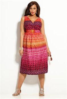 Colorful Mix Print Cotton Sun Dress | Plus Size Dress Clearance | Avenue