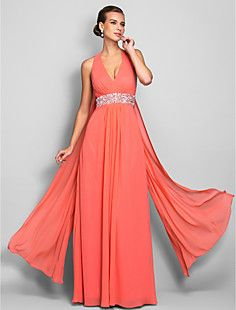 Sheath/Column V-neck Floor-length Chiffon Evening/Prom Dress... – USD $ 179.99