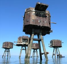 Maunsell abandoned Army Sea Forts, Red Sands Shivering Sands, Thames estuary, UK
