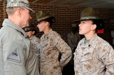 Marine Corps Women Drill Instructors | Gen. Martin E. Dempsey talks with U.S. Marine Corps drill instructors ...
