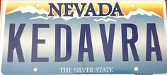 License plate: Nevada Kedavra!    Wonder if this works on people who follow your car too closely?  ;)