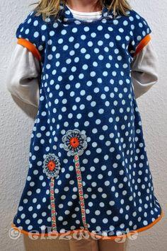 """Kleider - Kuschelkleid """"Michi"""" Baumwoll-Nicky Blumen Punkte - ein Designerstück von elbzwerge bei DaWanda"""