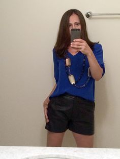Leather Shorts are new - had the Blue silk shirt.