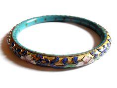 1920s Chinese Export Bangle Bracelet Enamel by ReneeMaeVintage