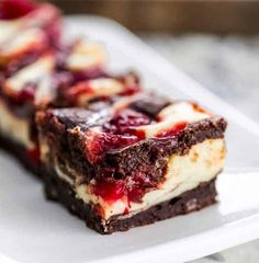 Heavenly Cherry Cheesecake Swirl Brownies - These OMG! Heavenly Cherry Cheesecake Swirl Brownies are so heavenly, they are the most sinful, indulgent brownies ever. Cheesecake Swirl Brownies, Cheesecake Recipes, Brownie Recipes, Cherry Brownies, Fudge Brownies, Rhubarb Cake, Tasty, Yummy Food, Delicious Recipes