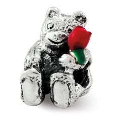 Roy Rose Jewelry Sterling Silver Kids Reflection Beads Bear with Enamel Red Flower Bead