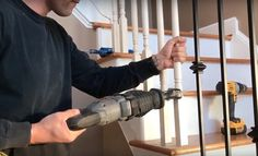 Changing Wood Stair Balusters to Iron: 8 Steps with Video Staircase Banister Ideas, Wood Railings For Stairs, Stairs Balusters, Redo Stairs, Diy Stair Railing, Staircase Remodel, Rebar Railing, Stair Redo, Interior Staircase