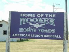 Small Town humor ~ Yes, Home of the Hooker Horny Toads.