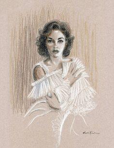 Conte potlood tekening - Elizabeth Taylor portret