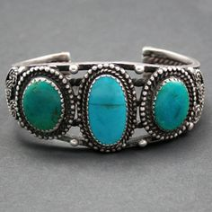 Navajo style Turquoise  Silver Bracelet (listed as Zuni work at Medicine Man Gallery)