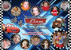 Cars Birthday Invitation with Monthly Collage The best way to remember your child's first year is to make a photo collage of their monthly photos, and what better way to share it with everyone than on an invitation? This is the perfect memory to share with your family & friends on your child's special first birthday!  I also offer CUSTOM collages with ANY THEMES at all!  Quick turn around time and I guarantee you will LOVE IT!  Copyright © 2015 All rights reserved Anna Roze Design