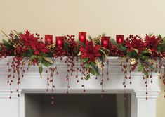 Decorated Mantles: POINSETTIA DAMASK