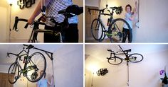 This Irish designer created a solution to storing a bike in your home by hanging it from the ceiling