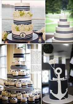 Nautical wedding cake with matching cupcakes. Nautical Cupcake, Nautical Wedding Cakes, Nautical Party, Wedding Cakes With Cupcakes, Cupcake Cakes, Mini Cakes, Cupcake Wedding, Shoe Cakes, Celebration Cakes