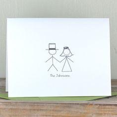 Wedding Thank You Cards, Wedding Thank You Sets - Stick Figure Couple on Etsy, $18.00