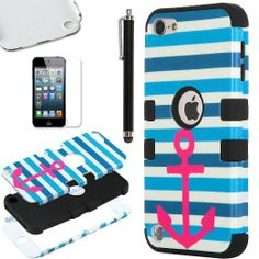 Pandamimi ULAK(TM) Hybrid Hard Pattern with Silicon Case Cover for Apple iPod Touch 5 Generation with Screen Protector and Stylus (Black / Red Anchor Blue Strip) Ipod 5 Cases, Ipod Touch Cases, Cute Phone Cases, Iphone Cases, Iphone 5s, Smartphone Deals, Ipod Touch 5th Generation, Thing 1, Cool Cases