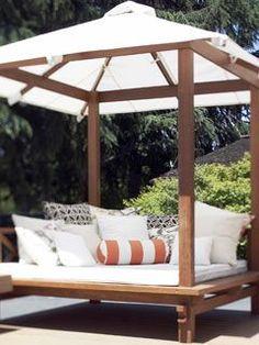 Backyard pool cabana decor New Ideas Backyard Cabana, Backyard Gazebo, Pool Cabana, Outdoor Cabana, Backyard Movie, Outdoor Daybed, Outdoor Rooms, Outdoor Living, Outdoor Decor